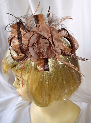 Two Shades of Brown Floral Fancy Fascinator with Feathers & Bird Cage