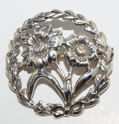 Vintage Sterling Floral Portrait Brooch Pin
