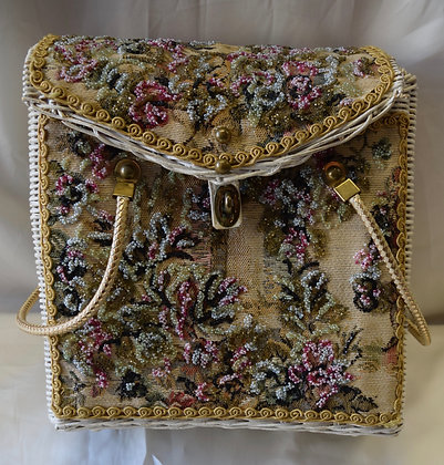 Vintage An Original By Midas of Miami Basket Purse with Flower Design