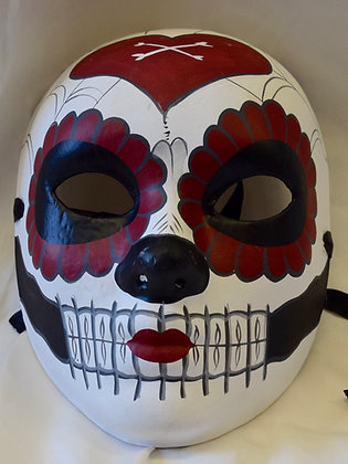 Day of The Dead Full Face Masquerade Mask Red & Black