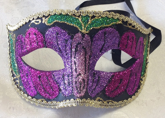 Sparkle Masquerade Mask Purple, Gold and Green