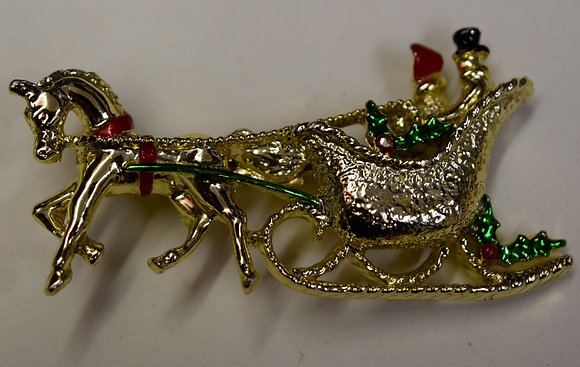 Signed Christmas Horse & Carriage Brooch Pin
