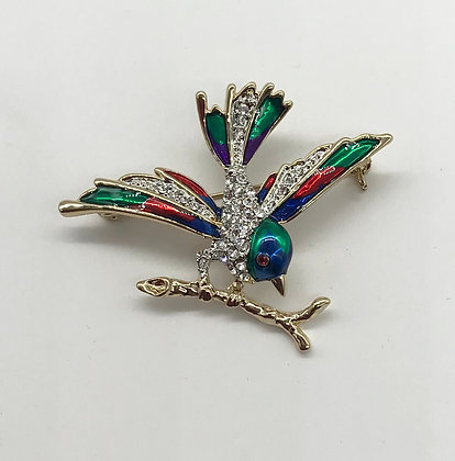 Bird on a Branch Brooch Multi Colour with Clear Rhinestones