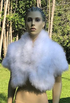 White Marabou Feather Short Sleeve Bolero Jacket