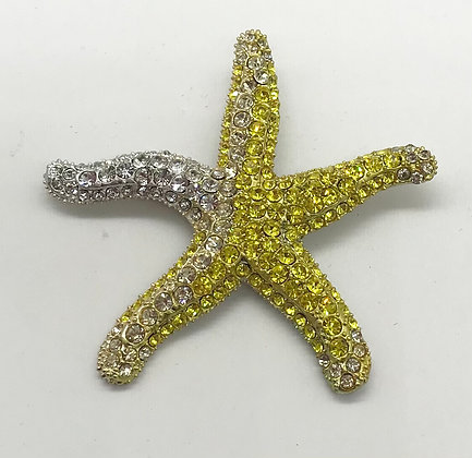 Star Fish Costume Brooch Pin Yellow & Clear