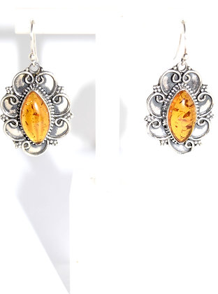 Marquise Shape Cognac Baltic Amber with Floral Design Silver Earrings