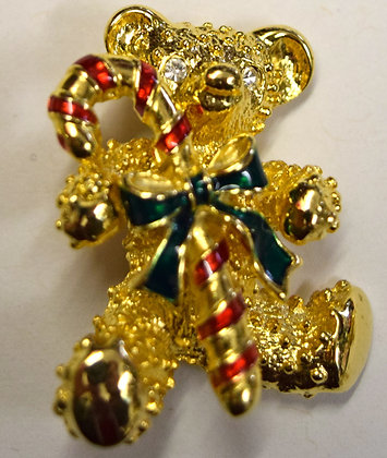 Vintage Christmas Bear with Candy Cane Brooch Pin