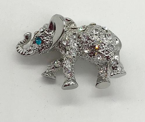 Elephant Brooch Pin Clear