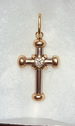 14k Yellow and White Gold Cross Pendant with Diamond