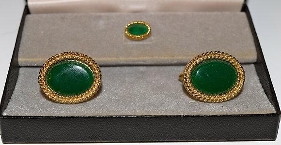 Vintage Cufflink set with Dark Green Stones