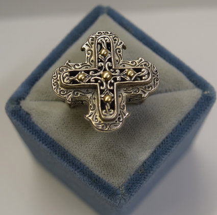 Eleganza Sterling Silver with 18k Ring Size 7