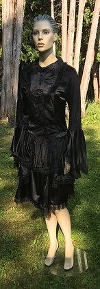London Rock Gothic Lolita Black Velvet, Lace & Satin Dress