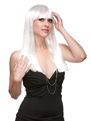 Deluxe Platinum White Long Wig with Bangs