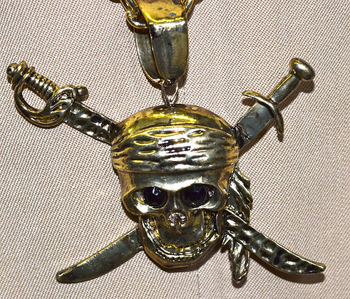 Skull Pirate with Swords Costume Pendant and Chain