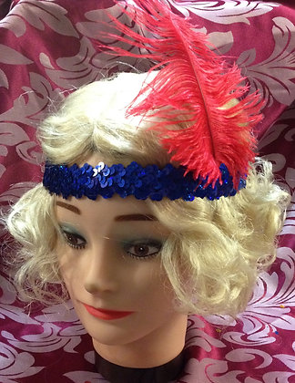 Blue Sequin Flapper Headband with Ostrich Feather