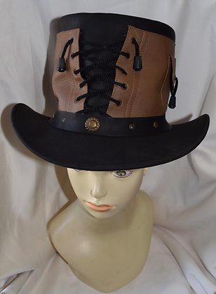 Steampunk Brown & Black Leather Top Hat