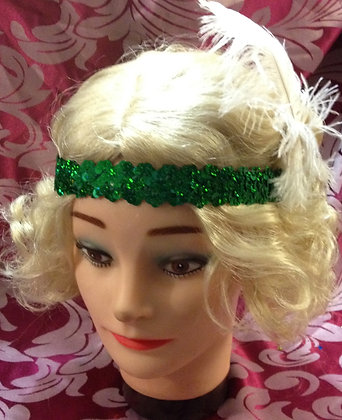 Sequin Flapper Headband with Feather
