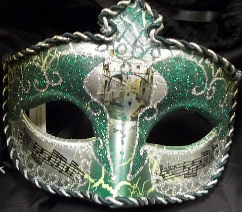 Green and Silver with Music Notes Masquerade Mask