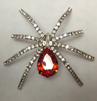 Spider Brooch with Red Gem