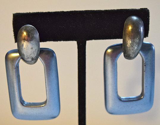 Vintage Costume Rectangular Drop Pierced Earrings