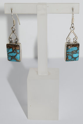 Rectangular Shape Turquoise Gemstones with Silver Earrings