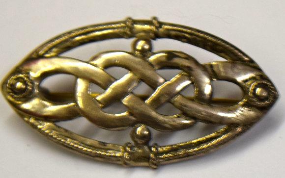 Vintage Celtic Knot Silver Brooch Pin
