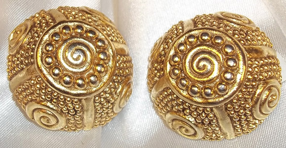 Vintage Clip On Earrings 2D Button Style