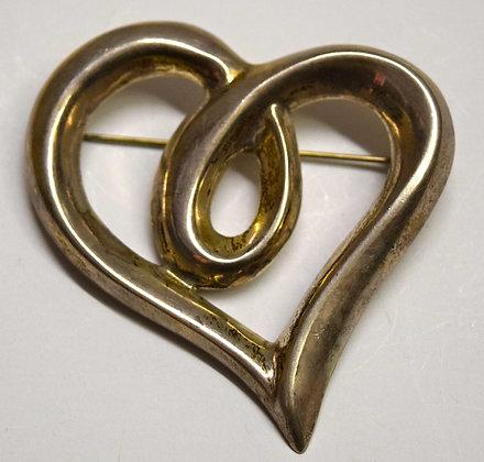 Vintage Silver Heart Brooch Pin