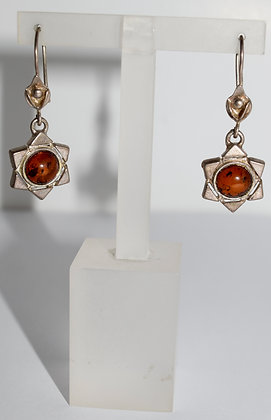 Vintage Star Silver Earrings with Amber