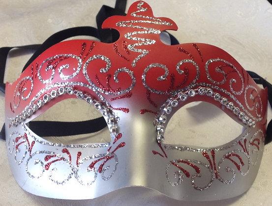Bright Red and Silver Decorative Masquerade Mask