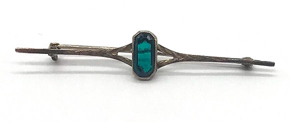 Antique Petite 10k Gold Bar Pin Brooch with Emerald Green Glass