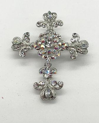 Cross Brooch Pin & Pendant Clear Rhinestones