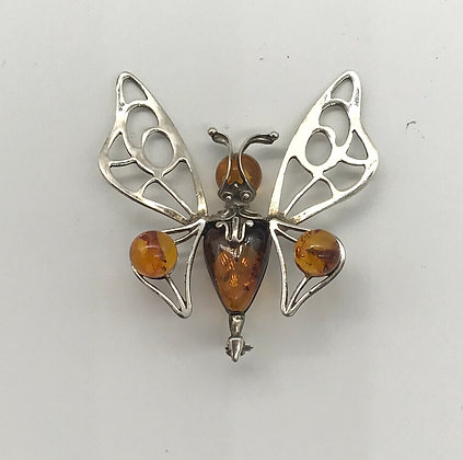Baltic Amber with Silver Butterfly Brooch Pin