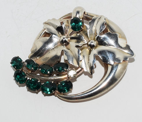 Vintage Flowers with Green Crystals Brooch Pin / Pendant