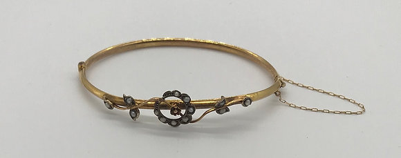 Handmade Floral Design Antique 10k Yellow Gold Bracelet with Seed Pearls