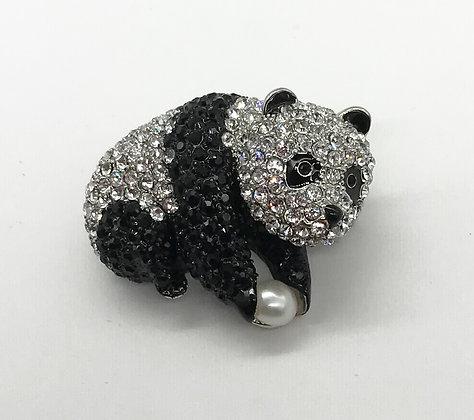 Panda Bear Brooch Pin with Black & Clear Rhinestones