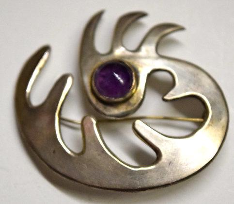 Vintage Mexican Silver Brooch Pin