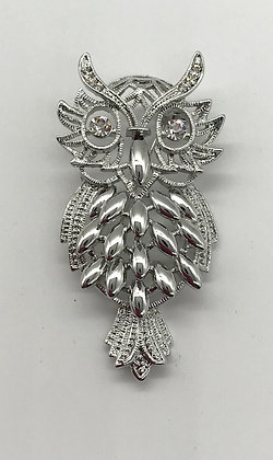 Owl Brooch Pin With Clear Rhinestones