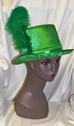 Green Top Hat with Feather Costume Hat