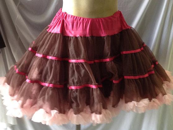 Deluxe Pink & Brown Petticoat Crinoline