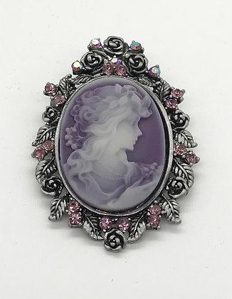 Purple Costume Cameo Brooch Pin and Pendant with Purple Rhinestones