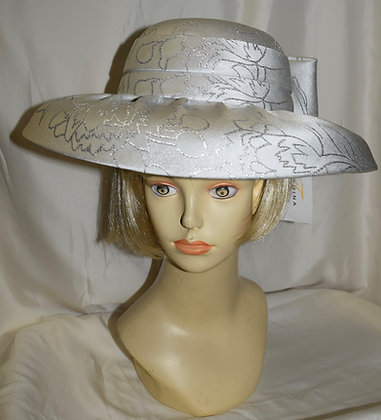 Terramina Silver Large Brim with Bow Fancy Summer Hat