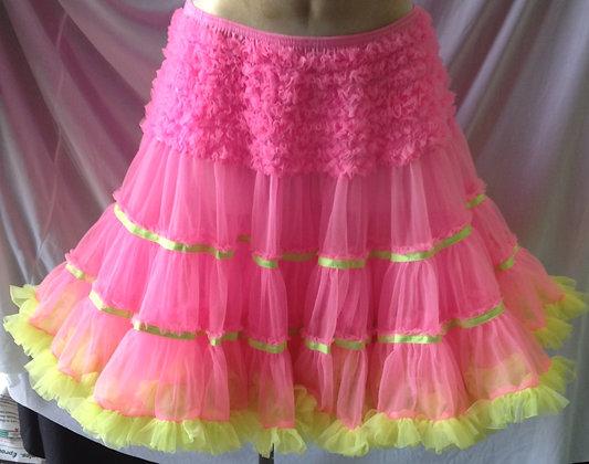 Bright Pink and Yellow Petticoat Crinoline