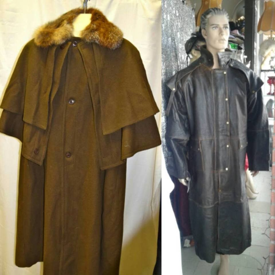 Vintage Sherlock's Homes jacket with attached cape and cowhide leather oil coat now available online and in store in Toronto. Great for the individual who enjoys steampunk fashion #reflections_vintage_toronto #steampunkfashion #steampunk #sherlock #oilcoat #menfashion #vintagetoronto