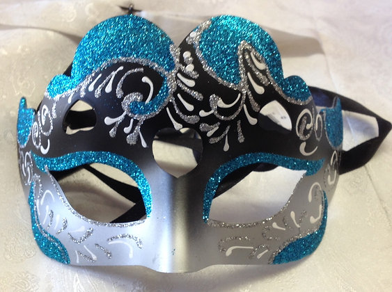 Fancy Blue, Black and Silver Masquerade Mask