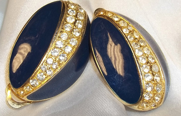 Vintage Costume Clip On Earrings 2D Blue Enamel