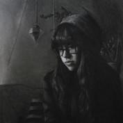 self portrait in charcoal