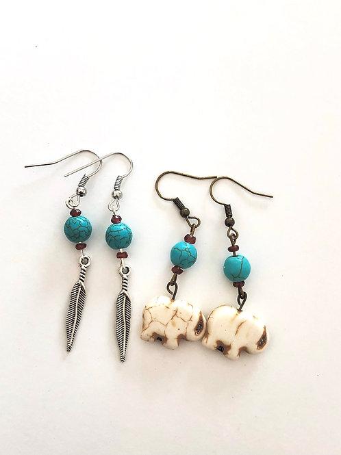 Turquoise & Garnet Southwestern Earrings