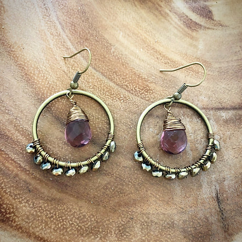 Pyrite & Amethyst Boho Earrings