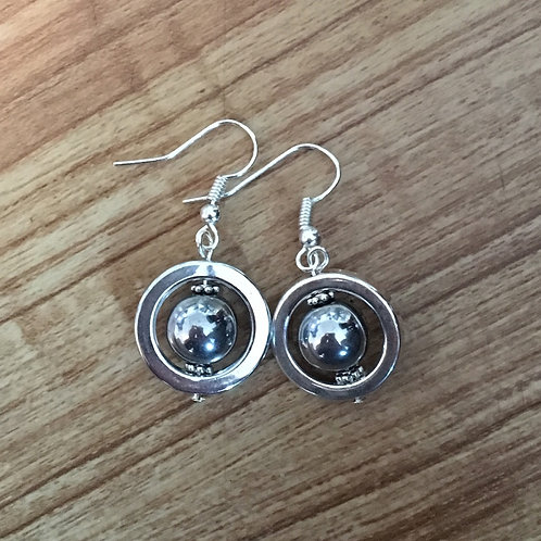 Hematite Planet Earrings